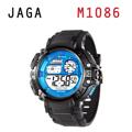 JAGA 捷卡 M1086-AE 時尚休閒運動 多功能電子錶-黑藍