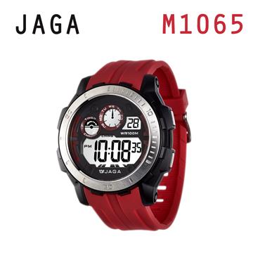 JAGA M1065-GG運動流線多功能電子錶-紅色