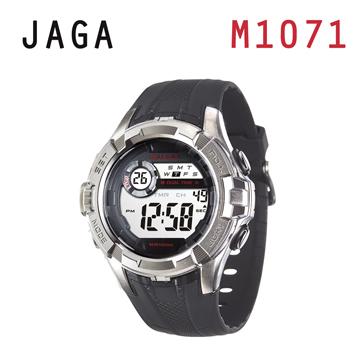 JAGA M1071-A抗震帥氣多功能電子錶-黑色