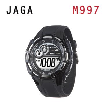 JAGA 捷卡 M997-AC 帥氣有勁 多功能運動電子錶-黑灰