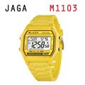 JAGA 捷卡 M1103-K 亮彩冷光 防水指針錶-黃色