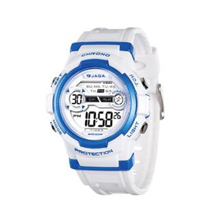 JAGA 捷卡 M1126-DE 色彩繽紛花漾年華 多功能電子錶-白藍