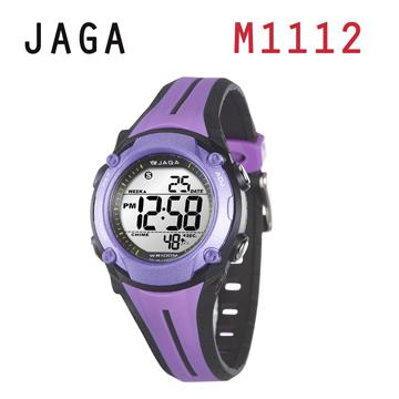 JAGA 捷卡 M1112-JA 俏麗時髦 多功能電子錶-紫黑