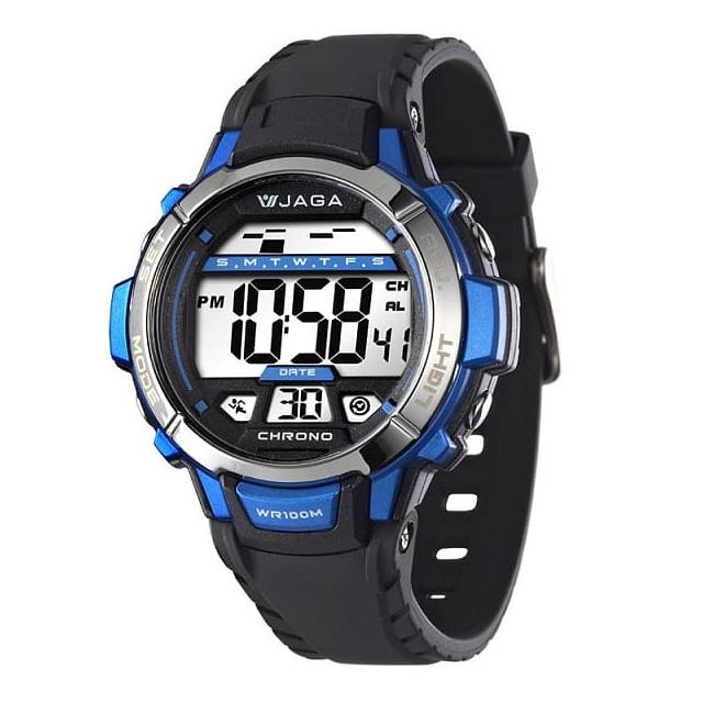 JAGA M1048A-AE 捷卡運動休閒風多功能電子錶-黑藍