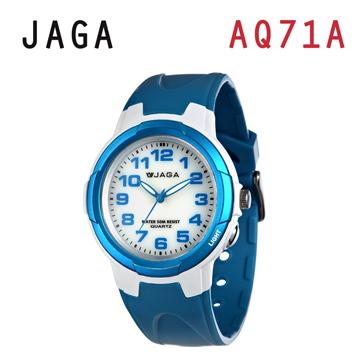 JAGA AQ71-DE 色彩繽紛夜光防水指針錶-白藍