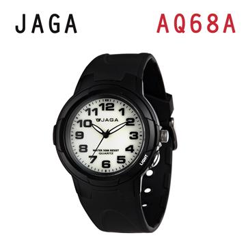 JAGA AQ68-A 色彩繽紛夜光防水指針錶-黑