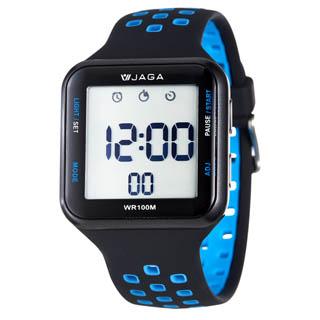 JAGA 捷卡 M1179-AE 科技時尚運動型電子錶-黑藍