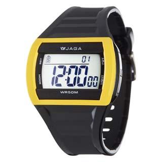 JAGA 捷卡 M879-AK多功能防水運動電子錶-黑黃