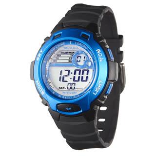 JAGA捷卡 M969-AE 動感亮眼時尚多功能電子錶-黑藍