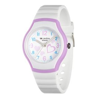 JAGA捷卡 AQ1191-DJ 時尚俏皮心心相印防水指針錶-白紫