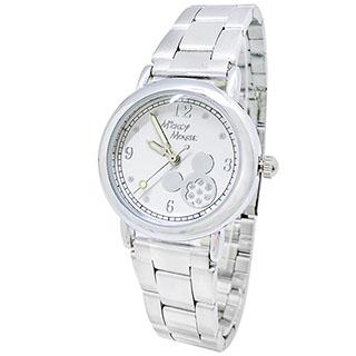 【Disney迪士尼】水鑽米奇鋼帶手錶_白