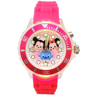 迪士尼_tsum tsum 桃紅閃燈手錶(米奇、米妮、布魯托