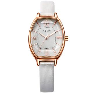 JULIUS聚利時 櫻花初綻典雅皮錶帶腕錶-白/25x37mm