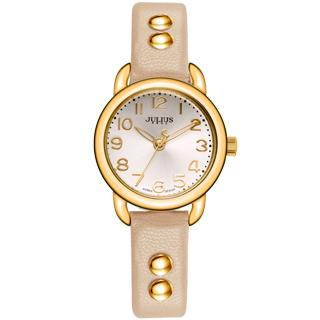 JULIUS聚利時 搖滾甜心鉚釘錶帶腕錶-裸色/28mm