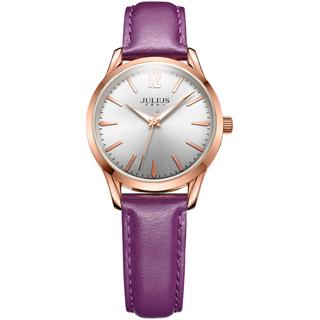 JULIUS聚利時 微星綻耀彎針設計皮帶腕錶-浪漫紫/30mm(小款)