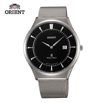 ORIENT 東方錶 SLIM系列 超薄時尚簡約藍寶石鏡面石英錶 米蘭帶 FGW03004B 黑色 - 39mm