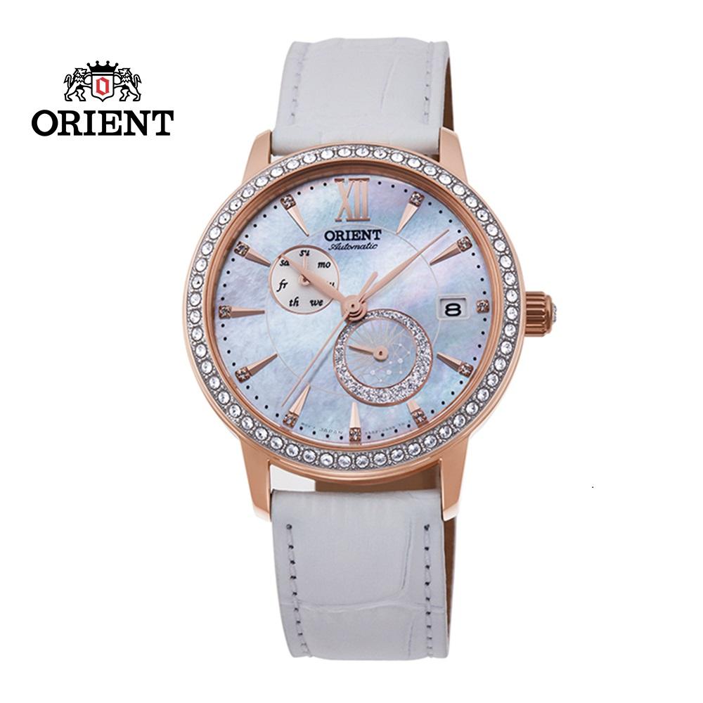 ORIENT 東方錶 ELEGANT系列 璀璨星辰日月相機械錶 皮帶款 RA-AK0004A 珍珠白 - 36.5mm