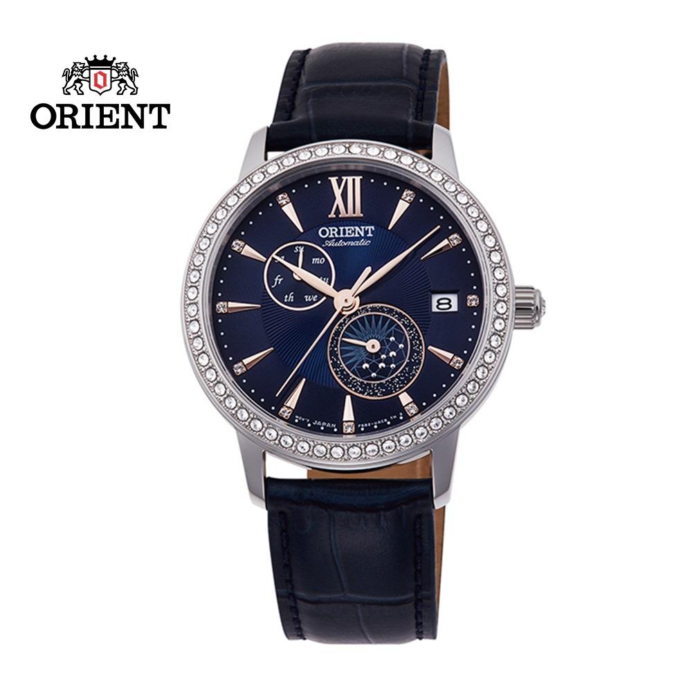 ORIENT 東方錶 ELEGANT系列 璀璨星辰日月相機械錶 皮帶款 RA-AK0006L 藍色 - 36.5mm