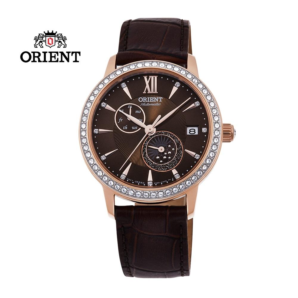 ORIENT 東方錶 ELEGANT系列 璀璨星辰日月相機械錶 皮帶款 RA-AK0005Y 咖啡色  - 36.5mm
