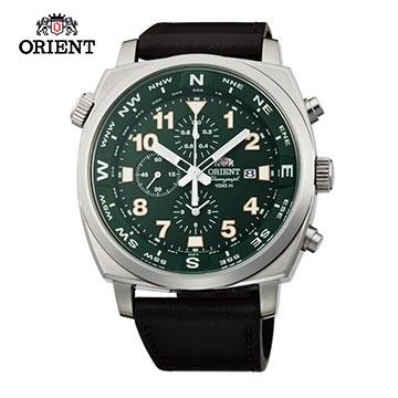 ORIENT 東方錶 東方霸王專業方位判定石英錶 皮帶款 FTT17004F 綠色 - 45.5mm