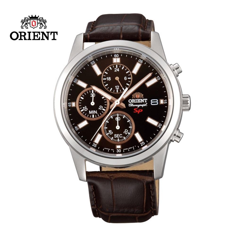 ORIENT 東方錶 SP 系列 三眼功能運動石英錶 皮帶款 FKU00005T  咖啡色 - 42mm