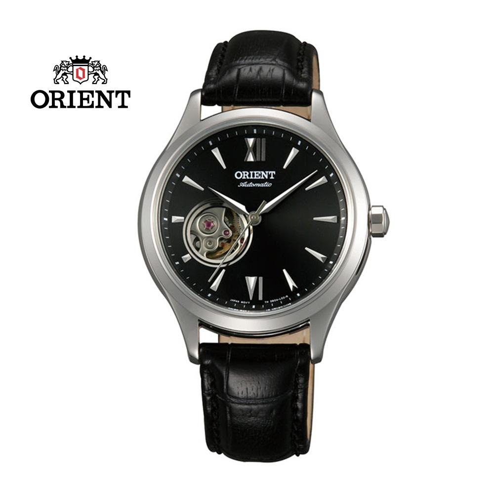 ORIENT東方錶ELEGANT系列優雅小鏤空機械錶皮帶款FDB0A004B黑色-36mm