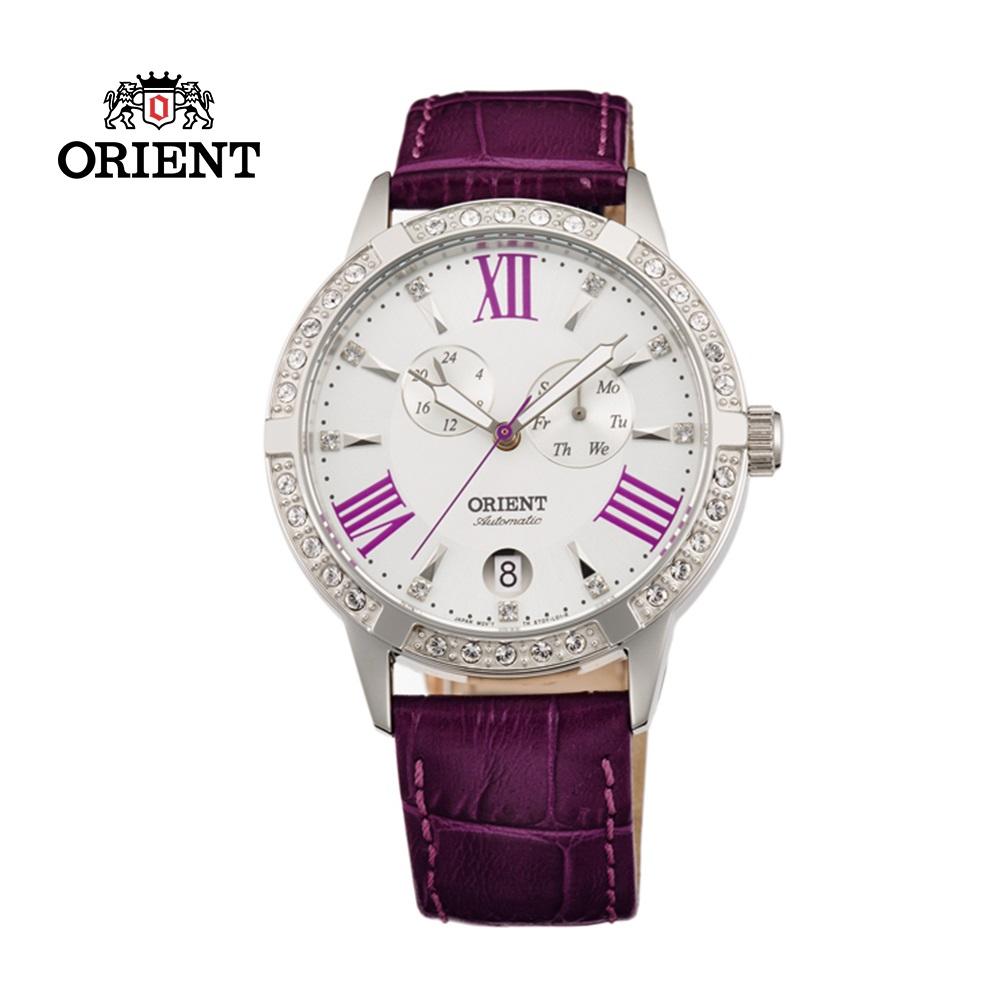 ORIENT 東方錶 ELEGANT系列 雙眼鑲鑽機械錶 皮帶款 FET0Y004W 紫色 - 37mm