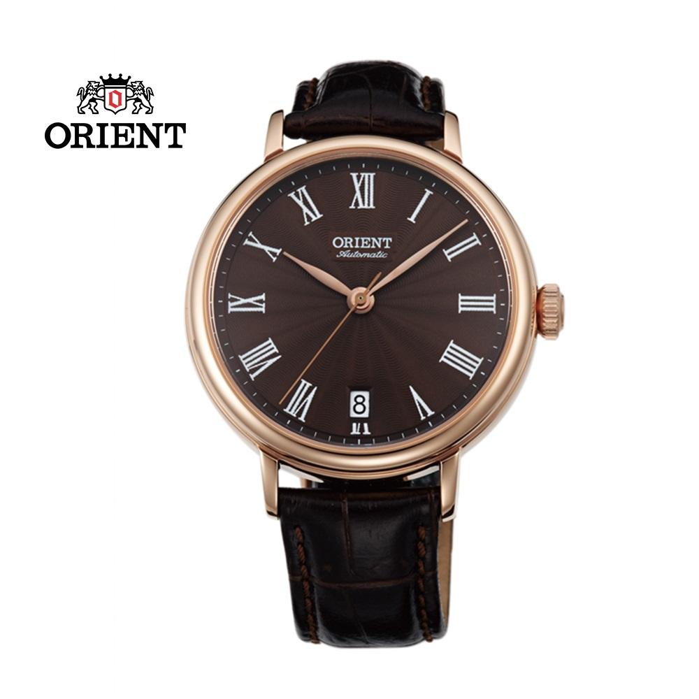 ORIENT 東方錶 ELEGANT系列 羅馬假期復古機械錶 皮帶款 FER2K001T 咖啡色 - 37.5mm