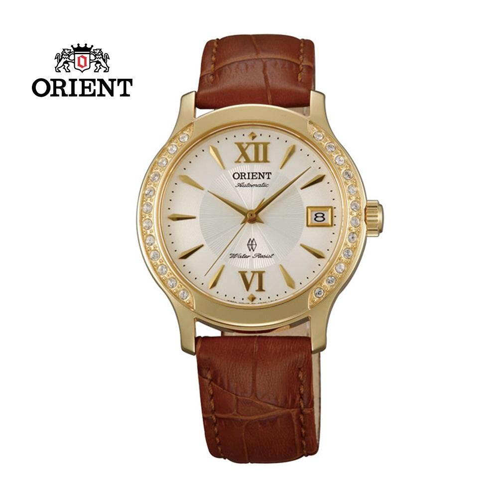 ORIENT東方錶ELEGANT系列優雅鑲鑽機械錶皮帶款FER2E003W金色-36mm