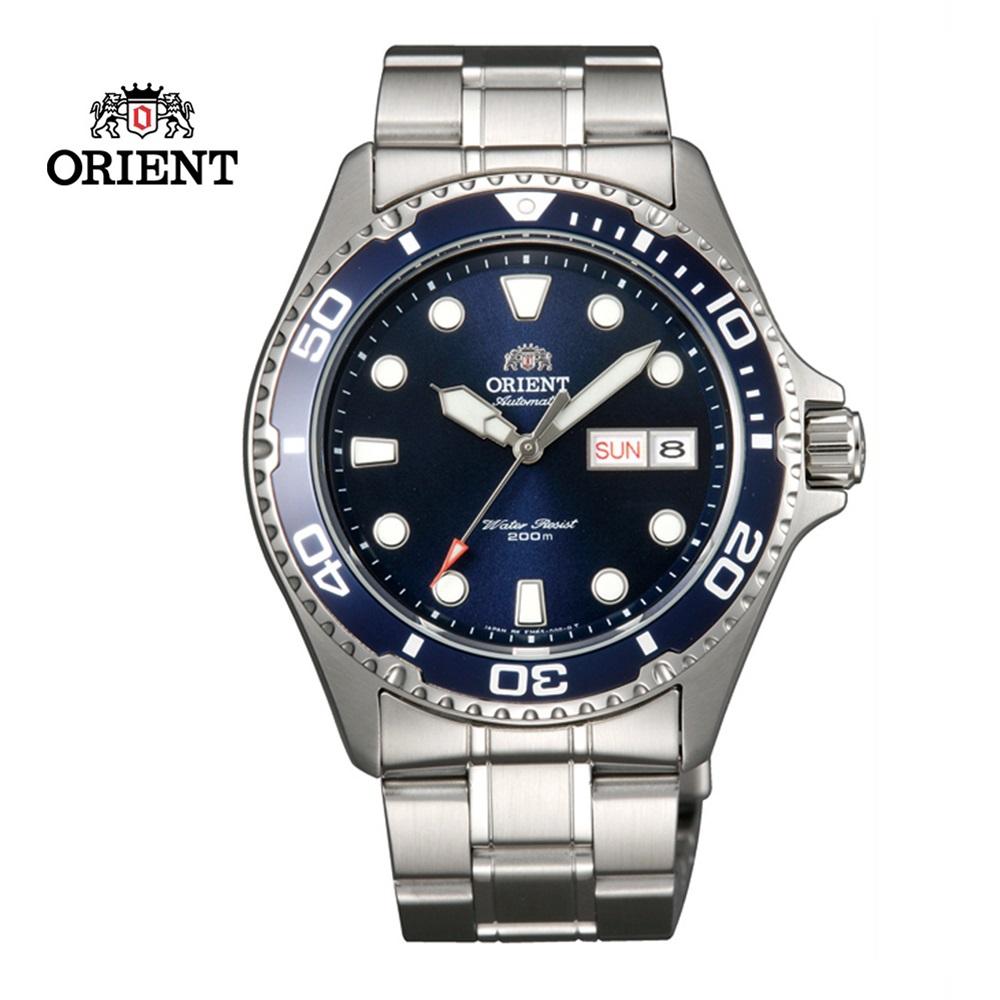 ORIENT 東方錶 WATER RESISTANT系列 200m潛水機械錶 鋼帶款 藍色 FAA02005D - 41.5 mm