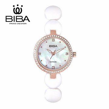 法國 BIBA 碧寶錶 純粹晶瓷系列 藍寶石玻璃石英錶 B31WC050W 白色-28mm
