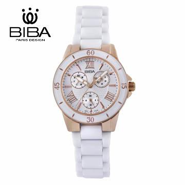 法國 BIBA 碧寶錶 絕色系列 藍寶石玻璃石英錶 B75WC018W 白色-29mm