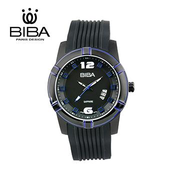法國 BIBA 碧寶錶 IP黑電鍍 藍寶石水晶石英錶 B72BS015D 黑色-43mm