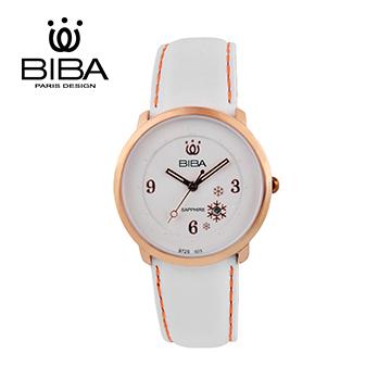 法國 BIBA 碧寶 花樣女孩 石英錶 B723S023W 白色-37mm