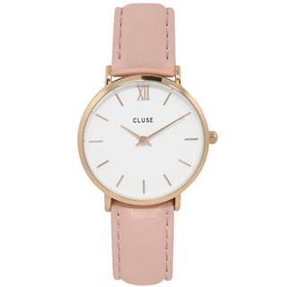 CLUSE荷蘭精品手錶 MINUIT玫瑰金色系列 白錶盤/粉色皮革錶帶 33mm
