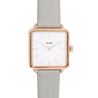 CLUSE荷蘭精品手錶 LaTétragone系列 白錶盤/灰色皮革錶帶28.5mm