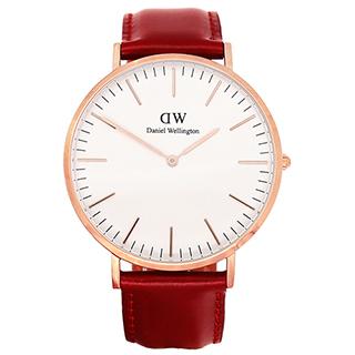 【Daniel Wellington】永恆經典限量石榴紅皮帶石英腕錶-金框/40mm(DW00100120)