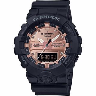 CASIO 卡西歐 G-SHOCK 特別版玩色雙顯手錶-霧黑x玫瑰金 GA-800MMC-1A