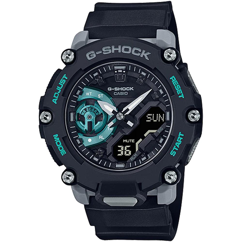 CASIO G-SHOCK 碳核心防震200米計時錶/黑綠/GA-2200M-1A
