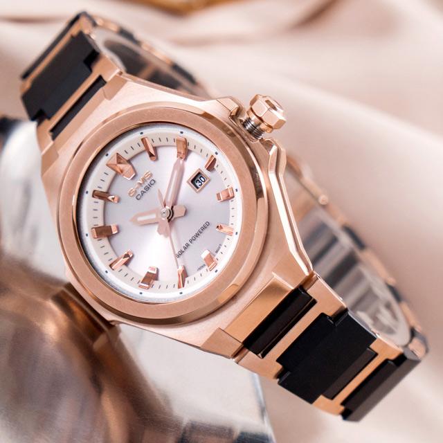 【CASIO 卡西歐】BABY-G 極致優雅太陽能輕量化不鏽鋼橡膠腕錶/黑x玫瑰金框 (MSG-S500CG-1ADR)
