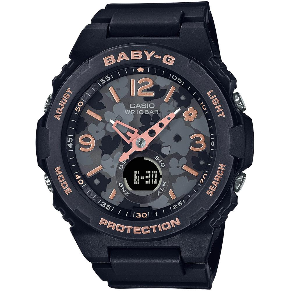 CASIO BABY-G 花卉系列活力女孩計時錶/黑/BGA-260FL-1A