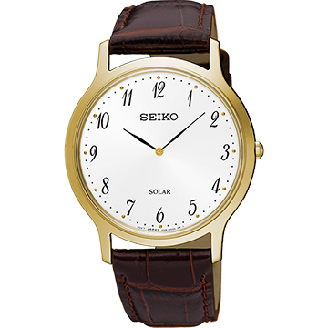 SEIKO 精工 SOLAR 太陽能都會時尚手錶-白x咖啡/38mm V115-0BE0G(SUP860P1)