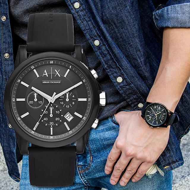 ARMANI EXCHANGE 經典銀黑個性時尚腕錶(AX1326)
