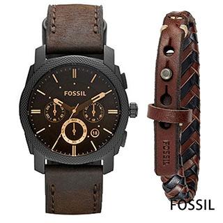 FOSSIL 漂浪北方男錶手環套組(FS5251SET)-咖啡面x42mm