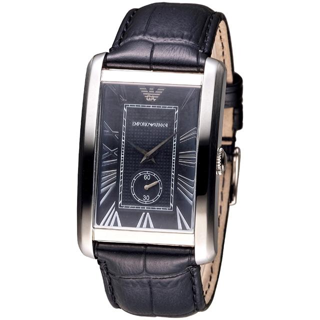 EMPORIO ARMANI 英倫時尚獨立小錶盤男錶-黑(AR1604)