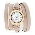 La Mer Collections 美國精品手錶手鍊 膚色雙條皮革錶帶玫瑰金色錶框27mm