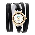La Mer Collections 美國精品手錶手鍊 黑色雙條皮革錶帶金色錶框27mm