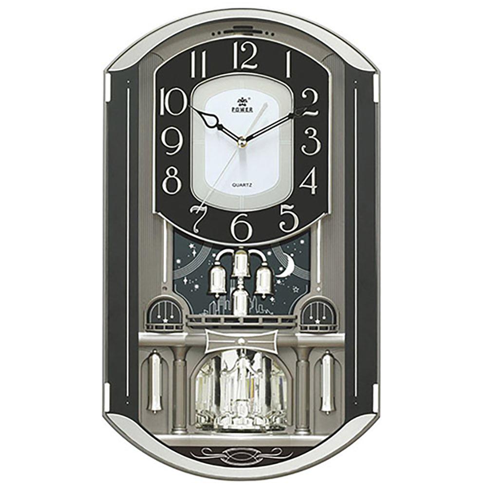【POWER霸王鐘錶】歐洲城堡|雅緻造型|旋轉水晶擺錘|18首音樂|光控報時舞台鐘-50cm