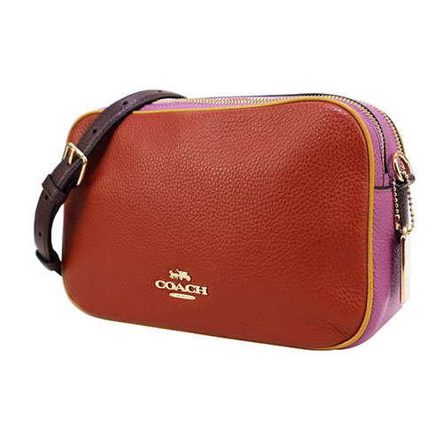 COACH Stereo Carriage Plain Litchi Grain Leather Double Zipper Crossbody Camera Bag (Red X Pink)