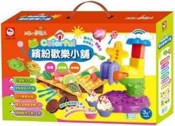 3Q小麥黏土:Colorful 繽紛歡樂小舖(冰棒+甜甜圈+棒棒糖)(內附小麥黏土6色+1台魔法冰棒製造機+DIY教學手冊+19個工具配件)